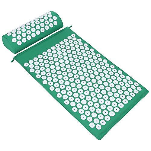ValueHall Esterilla de Acupresión Kit - Estera de Acupresión + Cojín de Acupresión - Alivia el Dolor de Espalda y Cuello, Relaja los Músculos y Reduce el Insomnio V7009-1 (verde)