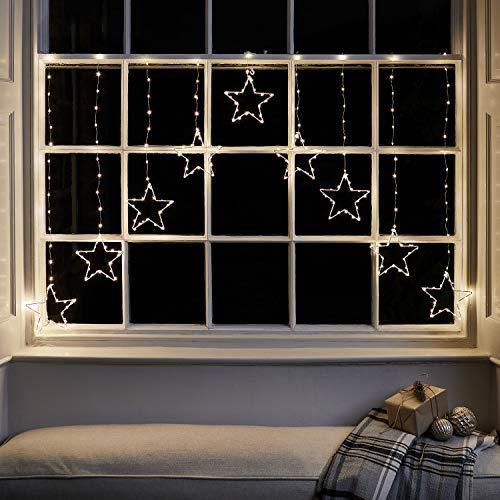 Lights4fun 258er Micro LED Sternenvorhang warmweiß 1,2m Weihnachtsbeleuchtung mit Timer
