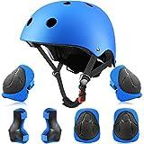 Yuanj Schonerset Kinder Protektoren Gear Set Helm kit, Mädchen & Jungen Knieschoner Set für Skateboard, Longboard, Stunt Scooter, Fahrrad, Rollschuhe (Blau)