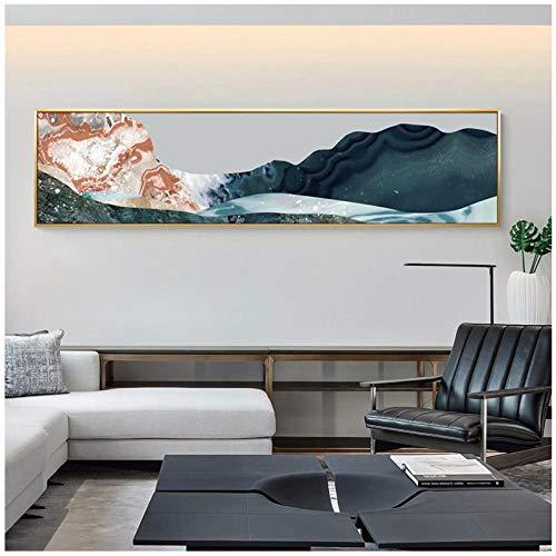 Jykrjcc Montañas Modernas Pintura En Lienzo Paisaje Nuevo Cartel Chino E Impresión Decoración Del Hogar Cuadros De Arte De Pared Para Sala De Estar Dormitorio (40X160Cm) Sin Marco