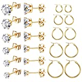 FUNRUN JEWELRY 11 Pairs Stud Earrings Hoop Earrings Set for Women Stainless Steel Studs With Cubic Zirconia 3-8mm Round Circle Endless (Gold tone)