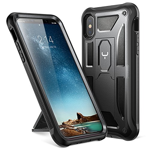 YOUMAKER Heavy Duty Protection Kickstand Shockproof Clip Holster Case Cover for All New Apple iPhone 10 2017 Edition 58 inch WITHOUT Builtin Screen Protector Black/Black