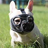 JYHY Short Snout Dog Muzzles- Adjustable Breathable Mesh Bulldog Muzzle for Biting Chewing Barking Training Dog Mask,Grey (Eyehole) S