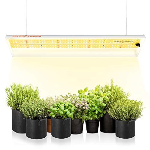 LED Pflanzenlampe Vollspektrum Spider Farmer LED Grow Lampe Grow Light Wachstumslampe für Zimmerpflanzen mit Reflektor Pflanzenleuchte Pflanzenlicht für Innen Gartenarbeit Gemüse Blume