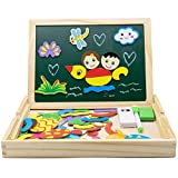Magnetic Jigsaw Puzzle Wooden Drawing Board Double Sided Chalkboard Easel Learning Educational Toys for Kids