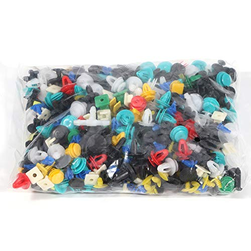 ANGLEWIDE 500Pcs Bumper Retainer Clips Auto Plastic Rivets Fasteners Push Car Clips eith Tool Replacement for Toyota GM Ford Acura