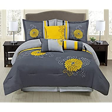 7 Piece Grey / Yellow Luxury Embroidered QUEEN Comforter Set with accent pillows