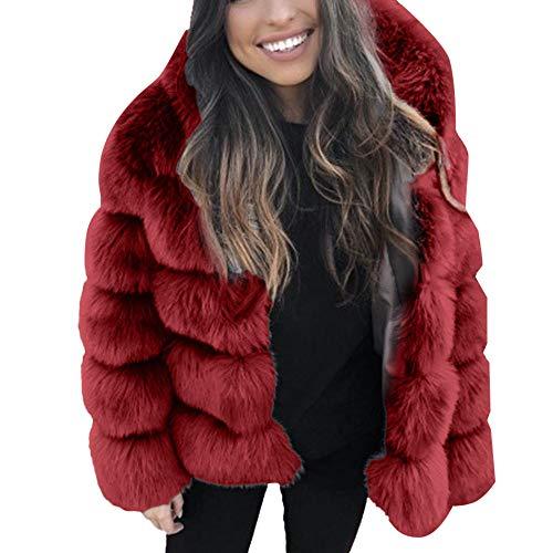 iHENGH Damen Herbst Winter Bequem Mantel Lässig Mode Jacke Frauen Faux nerz Winter mit Kapuze Neue kunstpelz Jacke warme Dicke Oberbekleidung Jacke