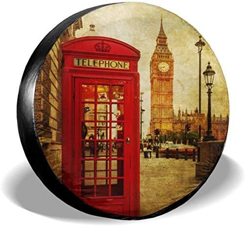 MODORSAN London Phone Box Cubierta de neumático de Rueda de Repuesto Cubiertas de Rueda universales de poliéster para Jeep, Remolque, RV, SUV, camión, Accesorios, 14 Pulgadas