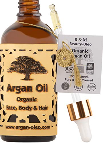 R&M Arganöl Bio kaltgepresst – Marokkanisches Fair Trade Öl für Haare, Gesicht, Nägel und Lippen, sowie gegen Narben und Pickel & als Massageöl – Flasche mit Pipette (100ml)