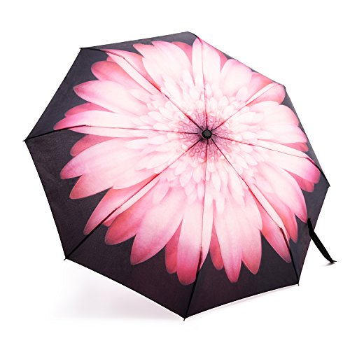 Oak Leaf Automatic Travel Umbrella, Auto Open/Close Foldable Rain Umbrella, Pink Flower - Waterproof, Windproof, Compact for Easy Carrying Totes -Durability Tested 5000 Times