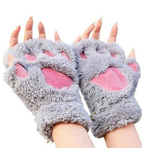 Himine Cat Claw Bear Paw Fingerless Winter Plush Gloves 1Pair (Grey)