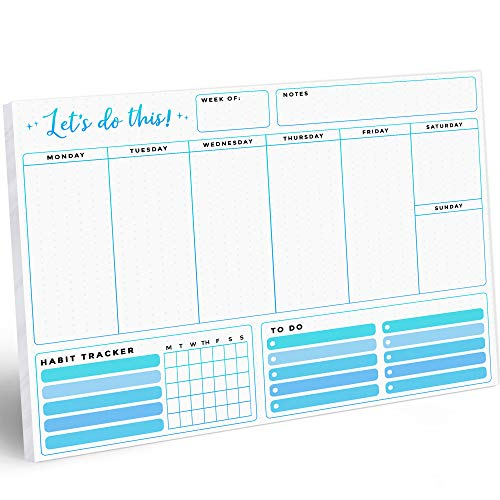 """Large Weekly Planner Notepad Calendar - 52 8.5 x 11"""" Sheets Scheduler and Daily Habit Tracker for To Do List, Tasks and Appointments - Motivational Organizer Checklist for Productivity to Reach Goals"""