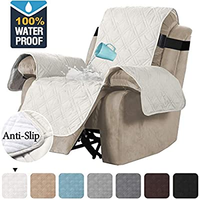 H.VERSAILTEX 100% Waterproof Quilted Recliner Chair Cover Recliner Cover Recliner Slipcover for Living Room, Secure with Elastic Strap and Non Slip Puppy Paw Silicone Backing
