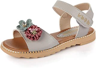 Warming Girls Summer Casual Open Toe Flat Princess Sandals Shoes with Flowers