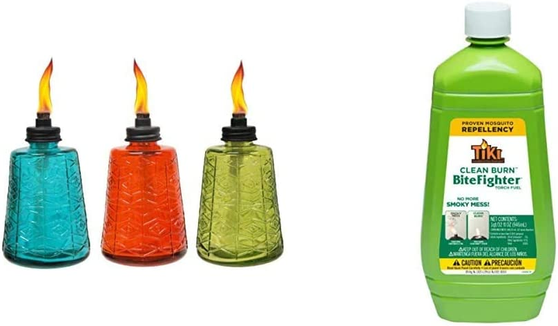 TIKI 6-Inch 高品質新品 Molded Glass Table Torch Blue Red 爆安 of Green Set