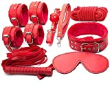 Brazalete de sujeción romántico de 7 piezas Esposas Tobillera, ajustable (rojo)