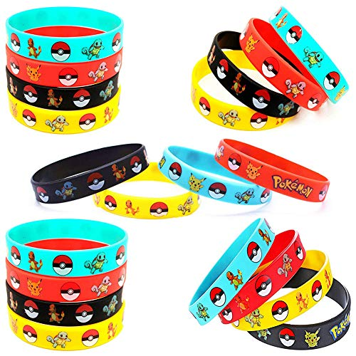 JAHEMU Silikon Armband Gummiarmband Sport Silikonarmbänder für Kinder Geburtstag Party Favors 20 Stück (Rot, Gelb, Schwarz, Blau)