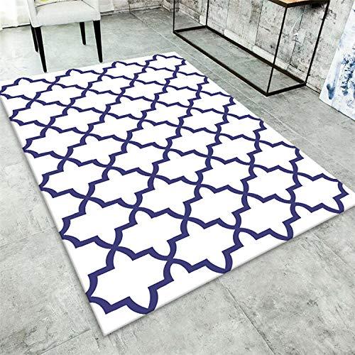 HXJHWB Alfombra Pelo Corto Diseño para - Sala de Estar sofá Mesa de Centro Alfombra Abstracta geométrica Simple impresión 3D Blanco Azul-El 120CMx160CM