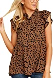 Angashion Women's Tops Casual Floral Print Cap Sleeve Ruffle Neck Loose Babydoll Shirt Blouse Tunic Top Brown M