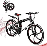 26 inch Adults Folding Mountain Bike High-Carbon Steel Foldable Bike for Men & Women Outdoor Exercise Road Bikes w/21 Speed Dual Disc Brakes Full Suspension Non-Slip (D Black)