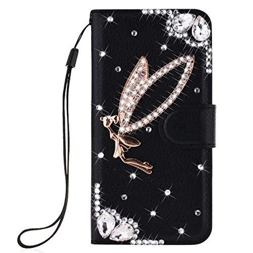 Awenroy Glitzer Hülle für Sony Xperia L1 Strass Handy Tasche Flip PU Leder Wallet Handyhülle Kartenfach Aufstellfunktion Magnetverschluss mit Stand Funktion - Schwarz