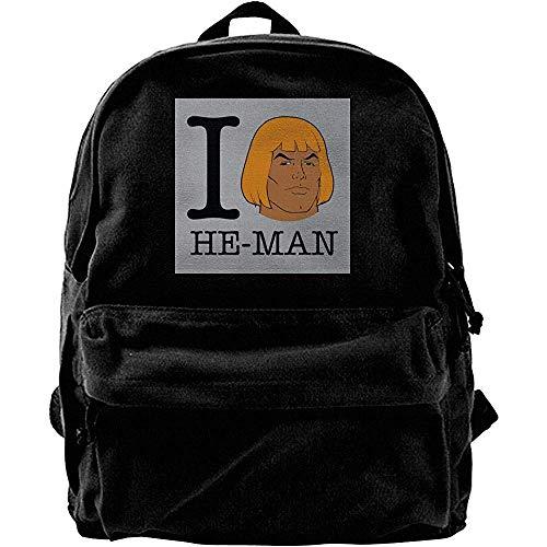 Canvas Travel Bags,Ich Liebe He Man Masters of Universe Bequeme Studententaschen Für Teenager-Schulcamping 30cm(W) x40cm(H)