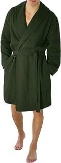 FakMe Men's Casual Pure Color Cotton Linen Long Bathrobe Home Casual Nightgown Pajamas Robe
