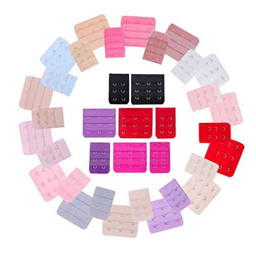 Senkary Senkary 40 Stücke Bra Extender 2 Haken 3 Haken Bra Erweiterung Gurt Büstenhalter Erweiterungshaken, 20 Farben