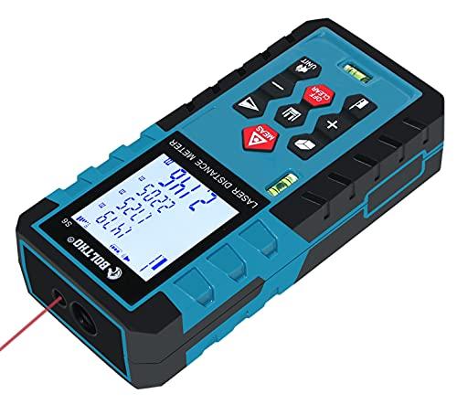 Entfernungsmesser, BOLTHO 60M Digitales Laser Entfernungsmesser mit 2 Blasen Ebenen - hintergrundbeleuchtetes LCD, Messung Entfernung/ Fläche/ Volumen/ Pythagoras, 20 Datenspeicherfunktion, IP54