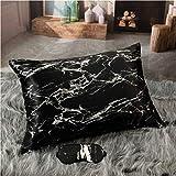 CELESTIAL SILK Black Marble Silk Pillowcase and Silk Sleep Eye Mask Gift-Wrapped Bundle - Queen Size Silk Pillowcase and Adjustable Silk Sleep Mask Gift Set