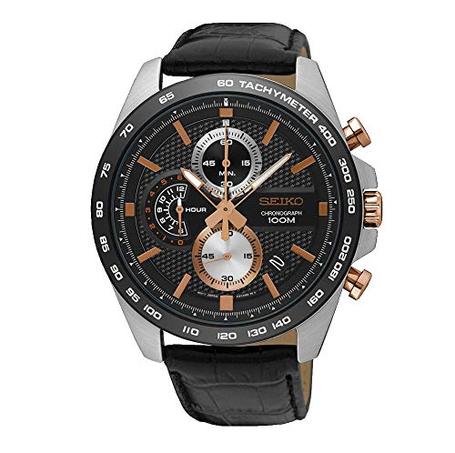 Seiko Men's Chronograph Quartz Watch with Leather Strap SSB265P1