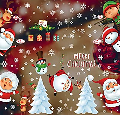 Christmas Stickers for Window Decoration 214pcs Christmas Clings for kids, Snowman Santa Elf Reindeer Window Static Sticker, Snowflake Winter Wonderland for Home Office Xmas Party Supplies - 12 Sheet