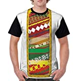 Man's T Shirts,Hand Drawn Abstract Design Elements Pattern Part of Alphabet Retro Inspired Style S