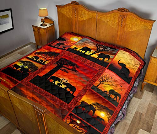Wecco Elephant Beautiful Quilt Twin Size - Unique 3D Design, Suitable for All Seasons with Mellow Cotton Material Comfortable and Luxurious.