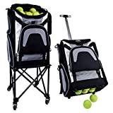 Rover Sports Packhopper Deluxe Tennis Ball Cart - This Tennis Racket Bag and Tennis Ball Hopper in One Converts to A Wheeled Tennis Ball Basket Cart and Tennis Ball Picker Upper