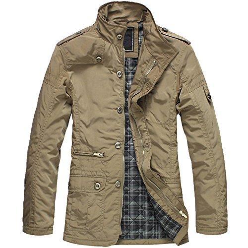 XFentech Hombre Vintage Otoño Moda Delgado Ajuste Abrigos Bolsillos Chaquetas Solapa Outerwear Estilo Ropa De Calle, Khaki