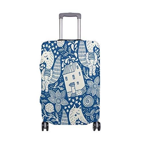 ALINLO Funda para Equipaje con diseño Floral de Zorro, Color Granate y Azul, para Maleta de Viaje, para 18 a 32 Pulgadas, Multicolor (Multicolor) - wllkn365509bz