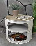 Livitat Couchtisch Beistelltisch Weiß Metall Ölfass Vintage Industrie Look LOFT Shabby LV5024