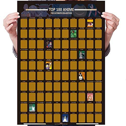 Gspose Anime Scratch Off Poster Foto,Hintergrundbilder Wanddekoration Smooth Movie Bucket List für Anime-Liebhaber Top Filme Rubbelkarte (59 * 42 cm)
