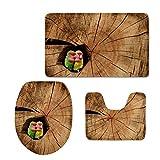 coloranimal 3piezas de juego de alfombra de baño alfombrilla de alfombra de baño contorno con tapa diseño de Parrot,