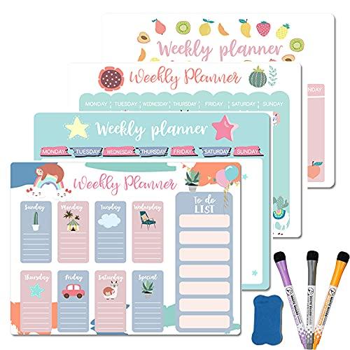 Planificador magnético semanal mensual con Calendario, imanes, marcadores de borrado en seco, Pizarra Blanca para Notas, Mensaje, Dibujo, Comida, Nevera, Pegatinas A3 - a9, Style25-3Pen1E2Ta