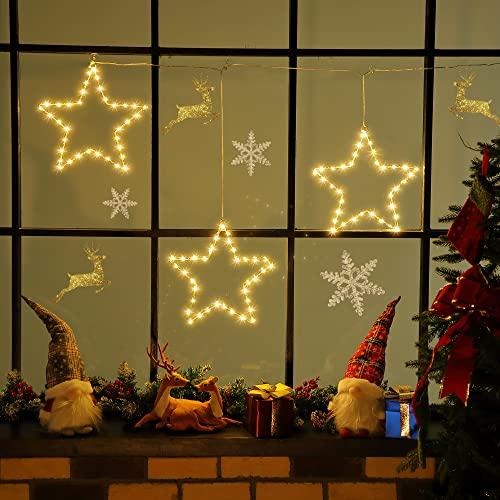 3 Paquetes Luces de Estrella LED Luces de Estrella de Ventana de Navidad Adornos Navideños Alimentados por USB con 8 Modos de Iluminación Control Remoto para Porche (Blanco Cálido)
