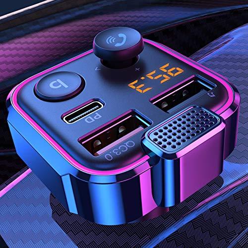 AINOPE 2021 Aktualisierter Bluetooth Adapter Auto, Stärkeres Mikrofon und Bass Transmitter für Auto Bluetooth 42W PD + QC3.0, 7 Farbige LED Hintergrundbeleuchtung, Drahtloser Anruf