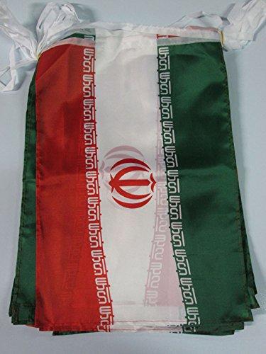 AZ FLAG Guirnalda 12 Metros 20 Banderas de IRÁN 45x30cm - Bandera IRANÍ 30 x 45 cm - BANDERINES
