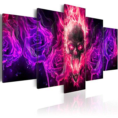 murando - Bilder 200x100 cm Vlies Leinwandbild 5 TLG Kunstdruck modern Wandbilder XXL Wanddekoration Design Wand Bild - Totenkopf Blumen a-A-0108-b-p