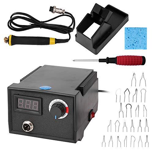 KKmoon - Máquina de pirorragia eléctrica multifuncional de calabaza digital, herramienta de madera de puntero con 23 cabezales de bolígrafo de calentamiento