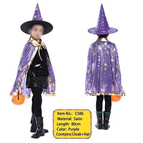 MAXIAOTONG Niños niños y niñas Asistente de la Bruja de del Partido de del Traje de Raso del Cabo con el Sombrero for Cosplay (Color : C586, Size : Gratis)