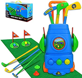 Tomyou Golf Cart with Hitting Mat Toy Set