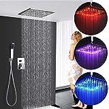 Douche à effet de pluie dissimulé à LED 30 * 30 CM Pommeau de douche Douche à effet de pluie Pulvérisateur de plafond Raccord...